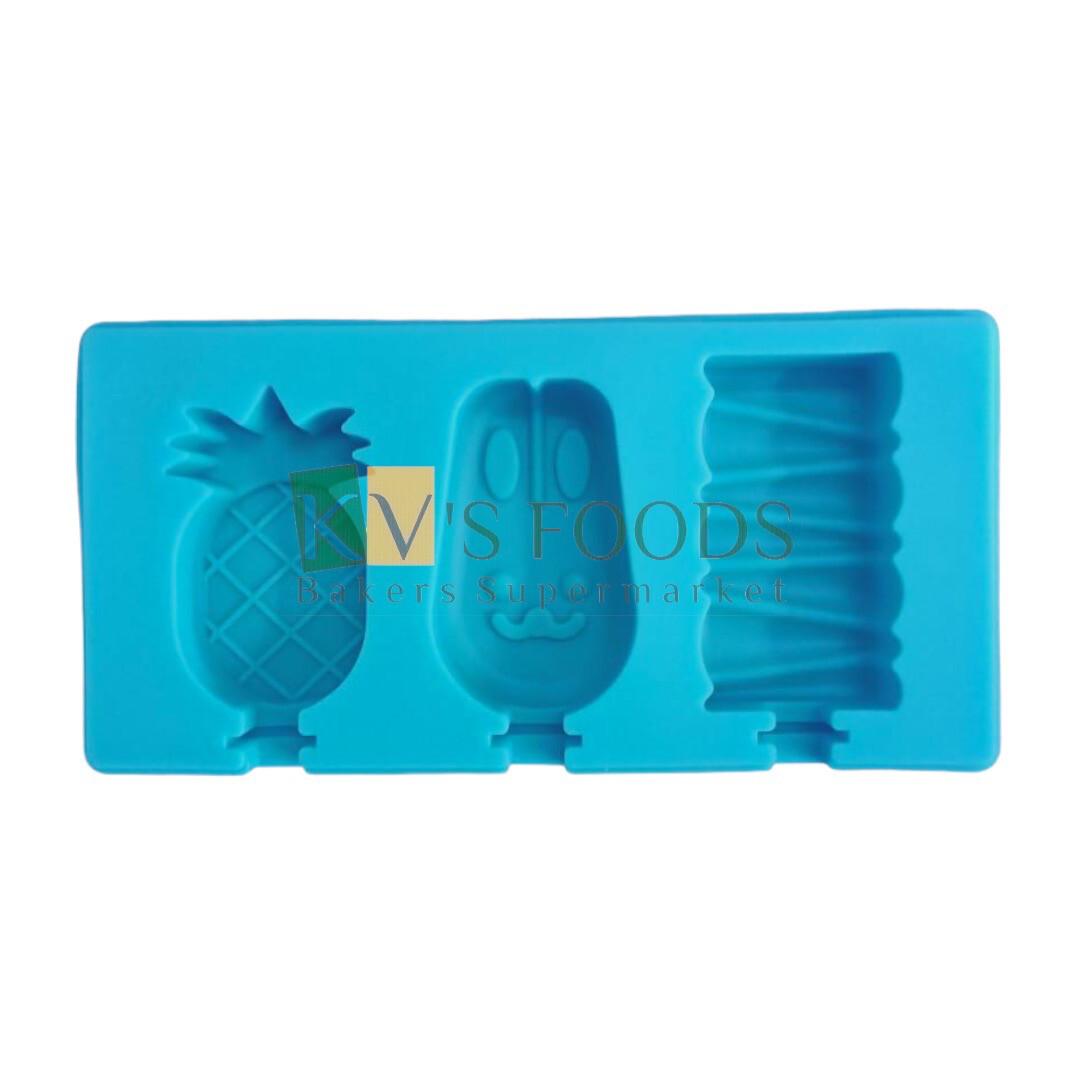 3 Cavity Fruit Shape Cakesicle, Popsicle, Ice Pop Silicon Mould