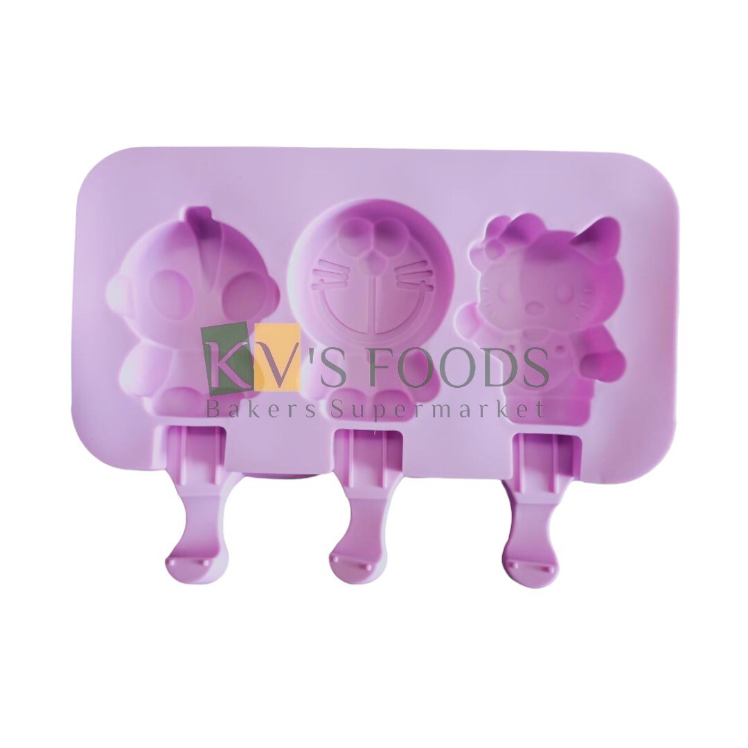 3 Cavity Doremon Shape Cakesicle, Popsicle, Ice Pop Silicon Mould