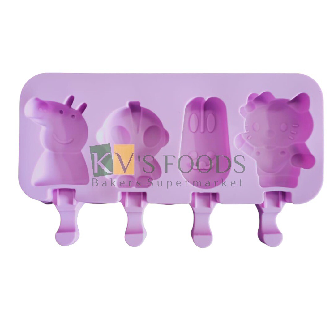 4 Cavity Peppa Pig Shape Cakesicle, Popsicle, Ice Pop Silicon Mould