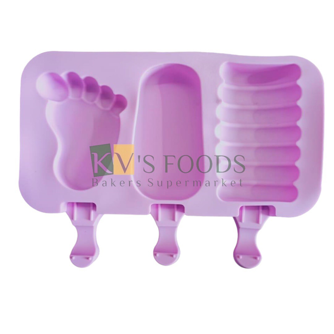 3 Cavity Foot Shape Cakesicle, Popsicle, Ice Pop Silicon Mould
