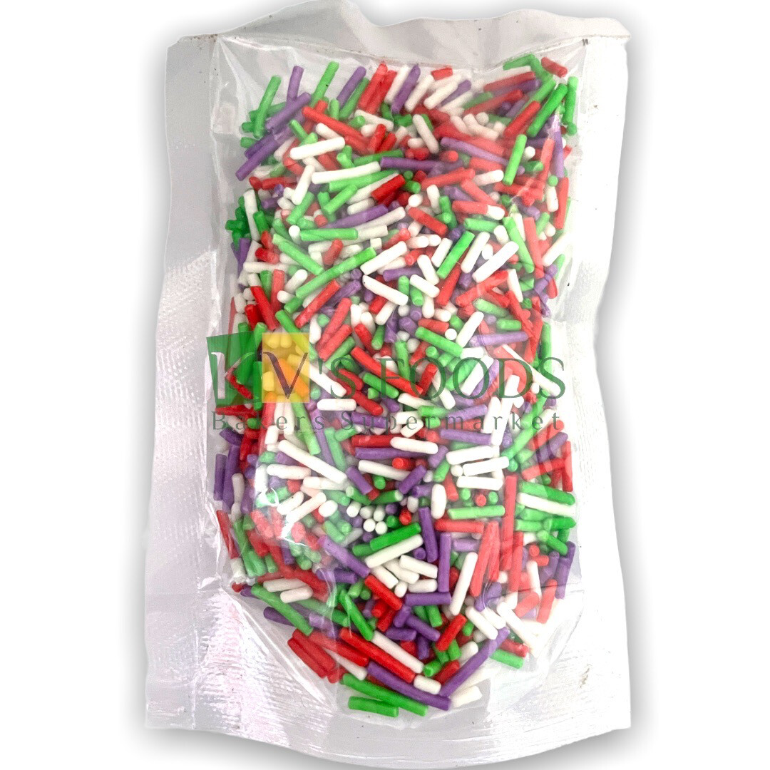 Imported Multicolored Vermicelli (Sev) Edible Confetti Sprinkles for Cake and Dessert Decoration