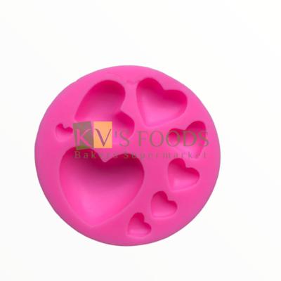Silicone 8-Cavity Different Sizes Love Heart Shape Suitable for Fondant & Gum Paste