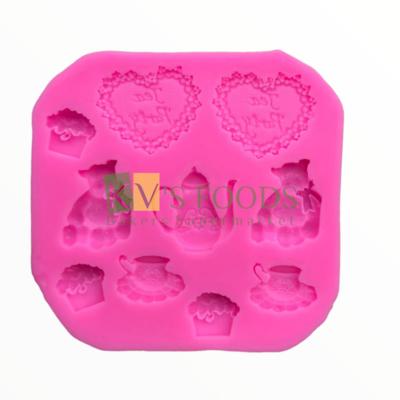 10-Cavity Tea Cup Cupcake & Teddy Shape Fondant Silicon Mould, Suitable for Fondant & Gum Paste