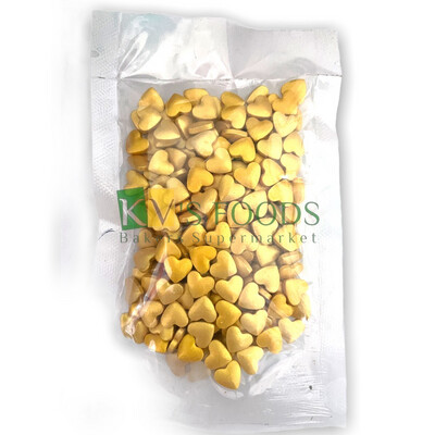 Imported Golden Hearts Edible Confetti Sprinkles for Cake and Dessert Decoration