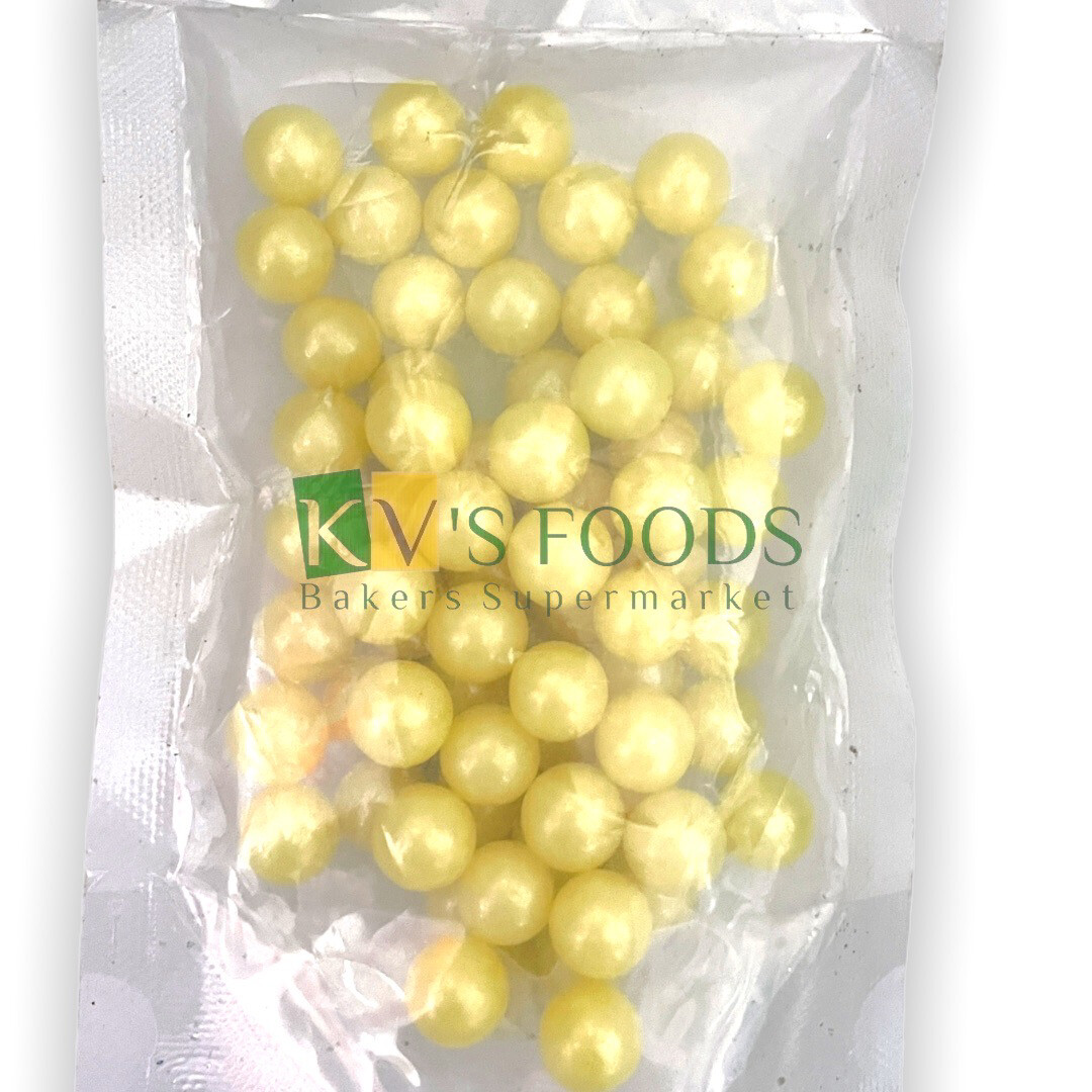 Yellow Pearl Balls Large Edible Confetti Sprinkles for Cake and Dessert Decoration