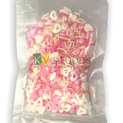 Pink & White Hearts, Vermicelli And Pearl Balls Mix Edible Confetti Sprinkles for Cake and Dessert Decoration