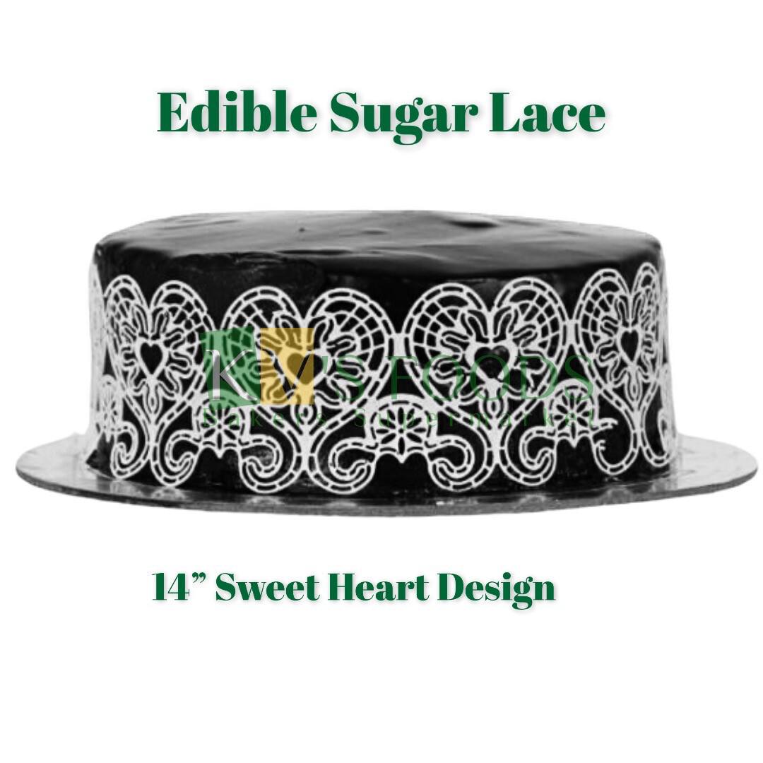 "14"" Edible Sugar Lace - Sweet Heart Design (Set Of 5)"