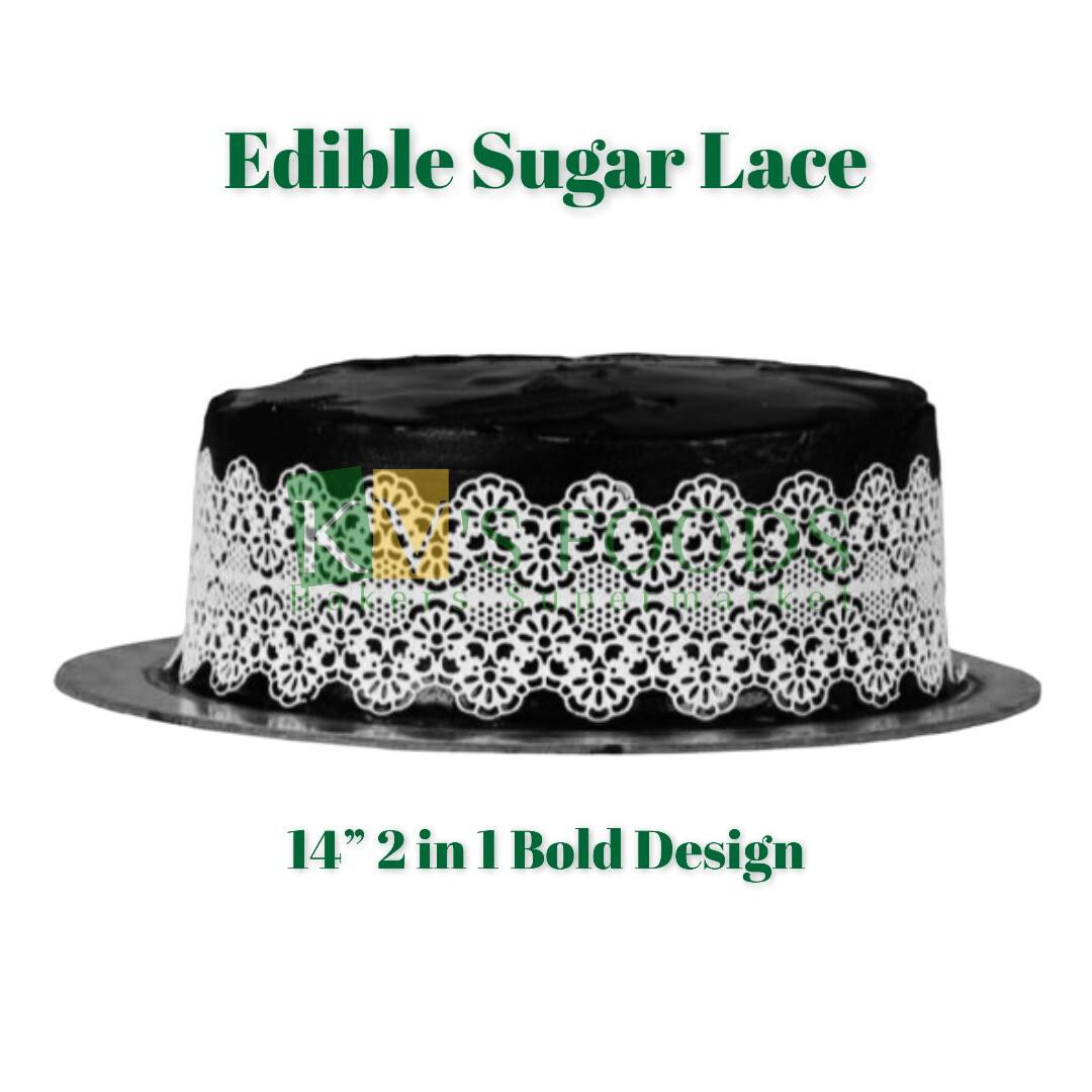 "14"" Edible Sugar Lace - 2 In 1 Bold Design (Set Of 5)"