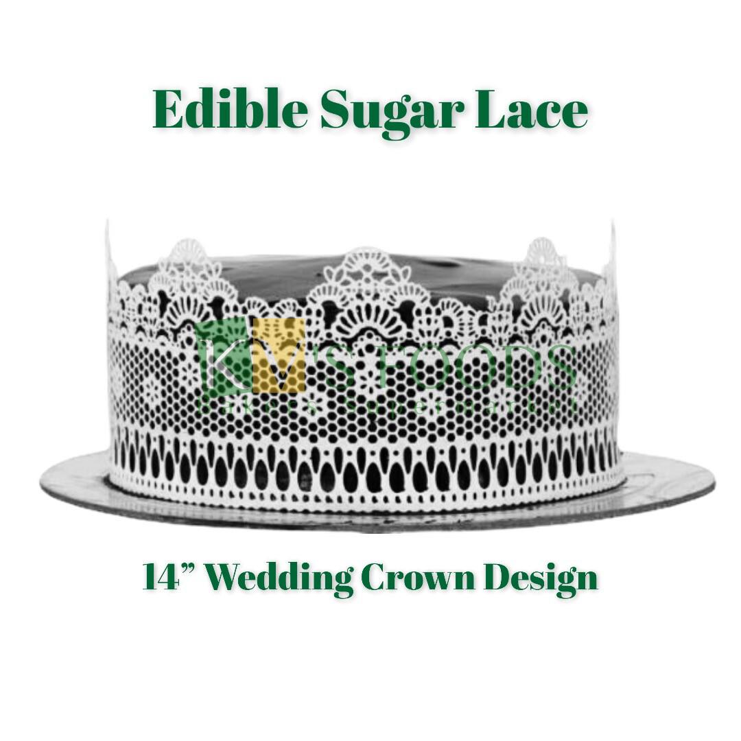 "14"" Edible Sugar Lace - Wedding Crown Design (Set Of 5)"