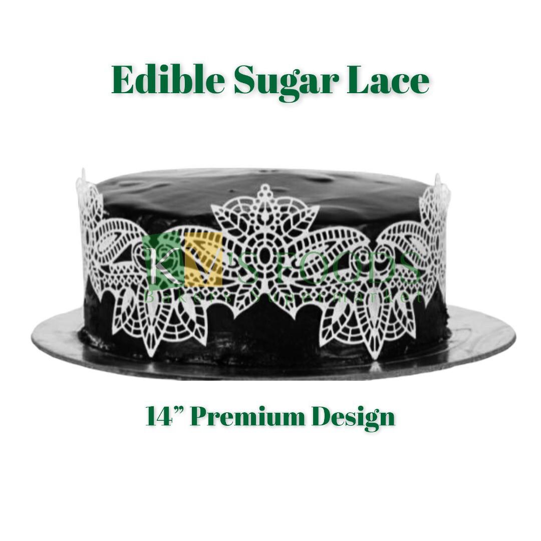 "14"" Edible Sugar Lace - Premium Design (Set Of 5)"