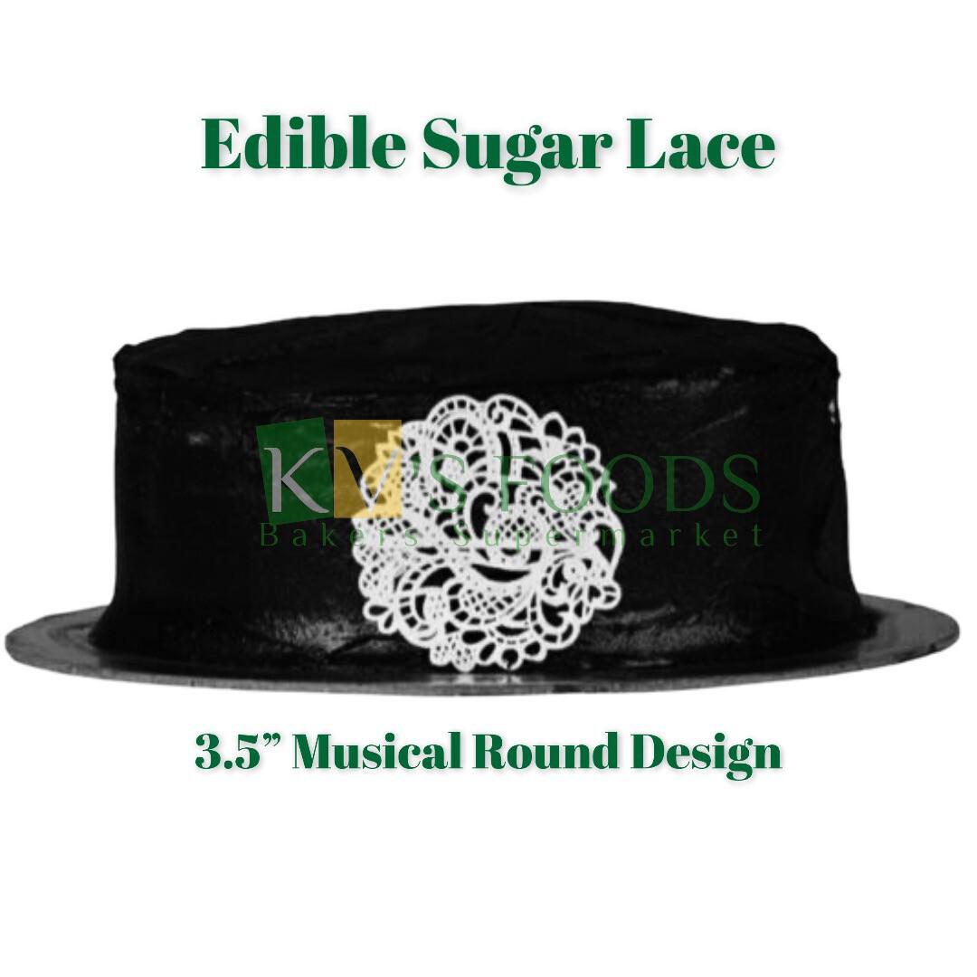 """3.5"""" Edible Sugar Lace - Doilies Design (Set Of 5)"""