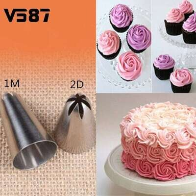 2pcs Stainless Steel Icing Cake Nozzles N1 & N2 / 1M & 2D Decorating Tips