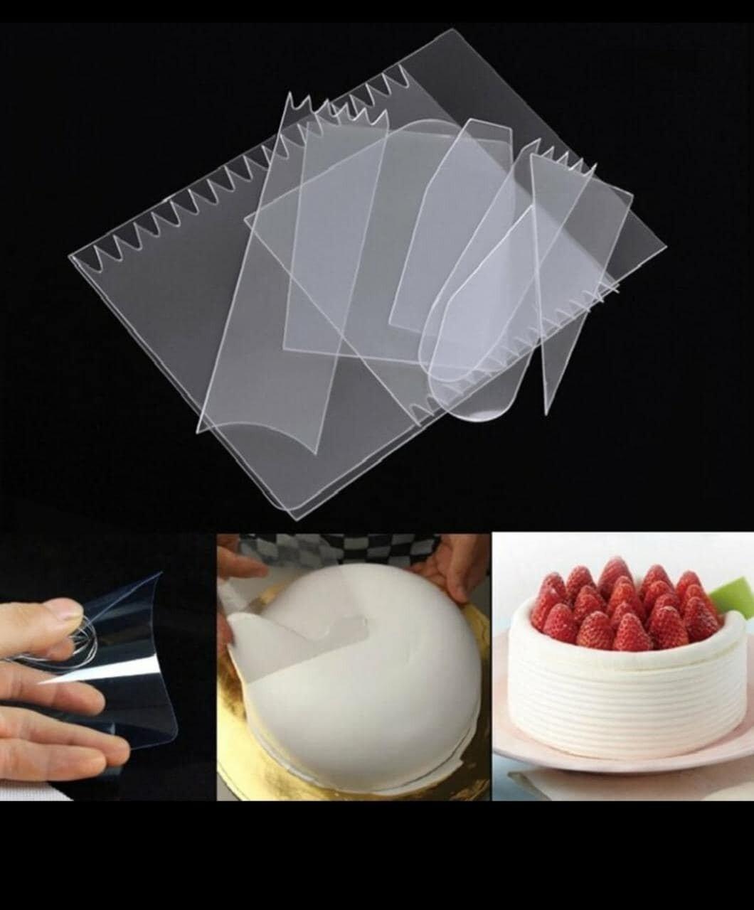 9 PCs Plastic Transparent Cream Cake Scraper
