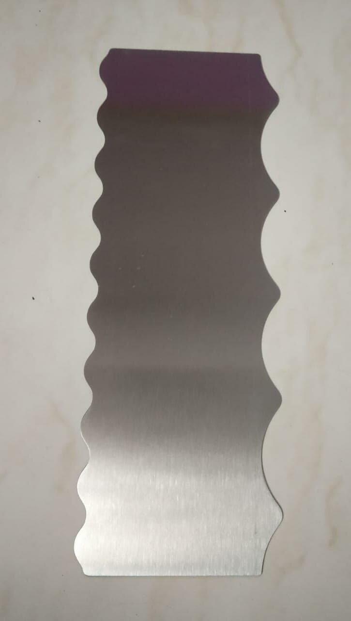Stainless Steel Tall Patterned Edge Side Zig Zag Cake Scraper Metal Cake Tools