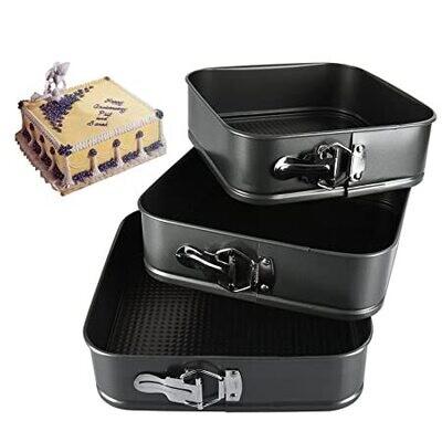 3 PCs Non-Stick Baking Spring Form Square Cake Tin Tray Pan Mould Cake Tools