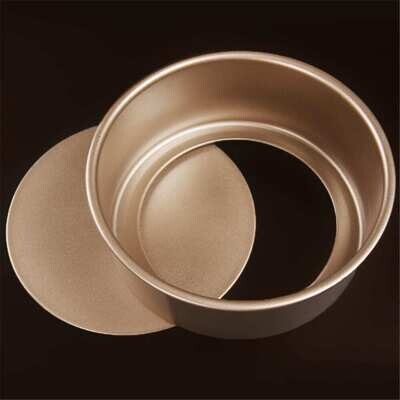 Round Non-Stick Gold Cake Pan Mold 8 Inch With Removable Loose Bottom