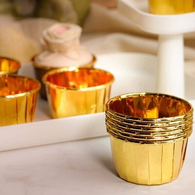 50 Pieces Golden Cupcake Bakeable Muffin Paper Cups Cake Tools
