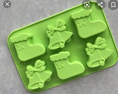 6 Cavity Christmas Socks & Bells Silicon Moulds Muffin Soap Jelly Mould Cake Tools