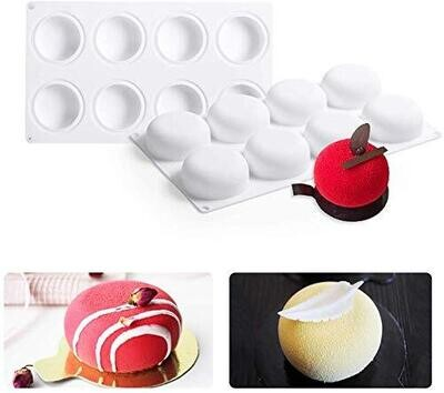 8 Cavity 3D Silicone Convex Rounds Baking Cake Muffin Soap Pudding Jelly Mould