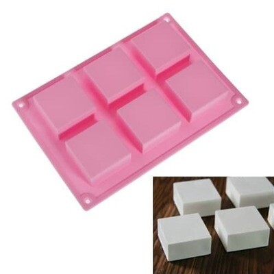 Silicone 6 Cavity Square Soap Jelly Pudding Mold Cake Tools