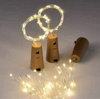 LED Cork Lights Copper Wire String Lights, 2M Battery Operated Fairy Lights Bottle DIY, Christmas, Wedding Party (Set of 1)