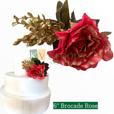 "6"" Non-edible Artificial Brocade Rose Flower RoseWood Color For Cake Decoration  | Wedding Cake Flower - KV's FOODS"