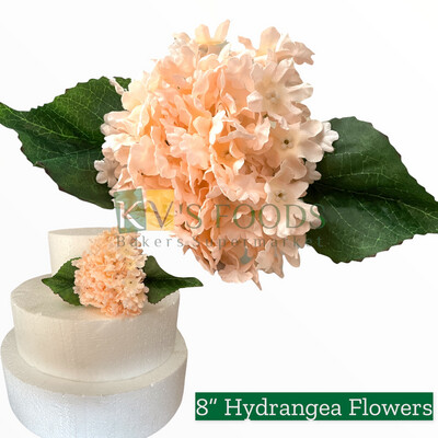 "8"" Non-edible Artificial Hydrangea Flower Salmon Color For Cake Decoration | Wedding Cake Flower - KV's FOODS"