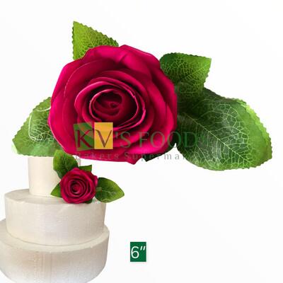 "6"" Non-edible Artificial Rose Flower For Cake Decoration | Wedding Cake Flower - KV's FOODS"