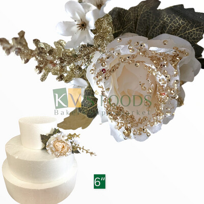 """6"""" Non-edible Artificial Brocade Rose Flower White Color For Cake Decoration - KV's FOODS"""