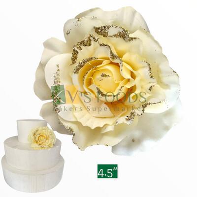 "4.5"" Non-edible Artificial Brocade White Rose Flower For Cake Decoration | Wedding Cake Flower - KV's FOODS"