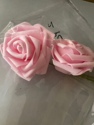 """3.5"""" Non-edible Artificial Pink Rose Set Of 2 Flowers for Cake Decoration 