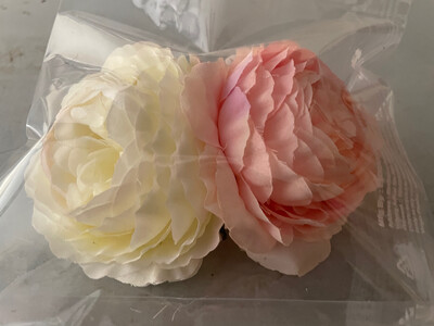 """4"""" Non-edible Artificial Peony Rose Set Of 2 Flowers for Cake Decoration 