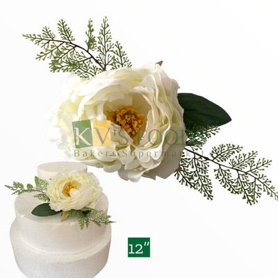 """12"""" Non-edible Artificial Peony Rose Flower With Leaf Bunch for Cake Decoration 