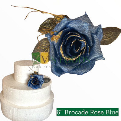 "6"" Non-edible Artificial Brocade Rose Blue Flower RoseWood Color For Cake Decoration  | Wedding Cake Flower - KV's FOODS"