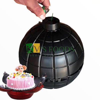 Bomb cake | Cake Bomb Box | Reusable Surprise Plastic Bomb Explosion Cake Container With Bowl, 3 Fuses & a Clip - KVs FOODS