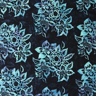 Banyan Batiks Baralla Black and Teal Floral 80310-99