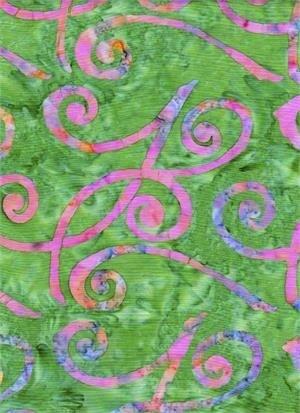 Batik Textiles Green w/ Pink & Lavender Swirls Batik 3951