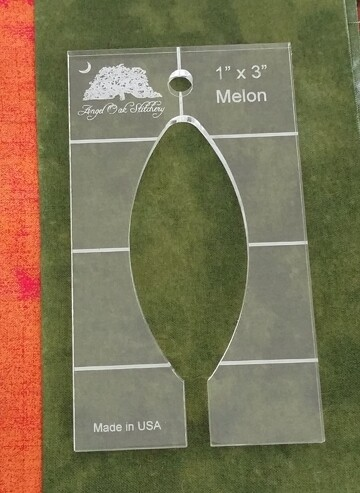 1 inch x 3 inch Melon Rulerwork Quilting Template