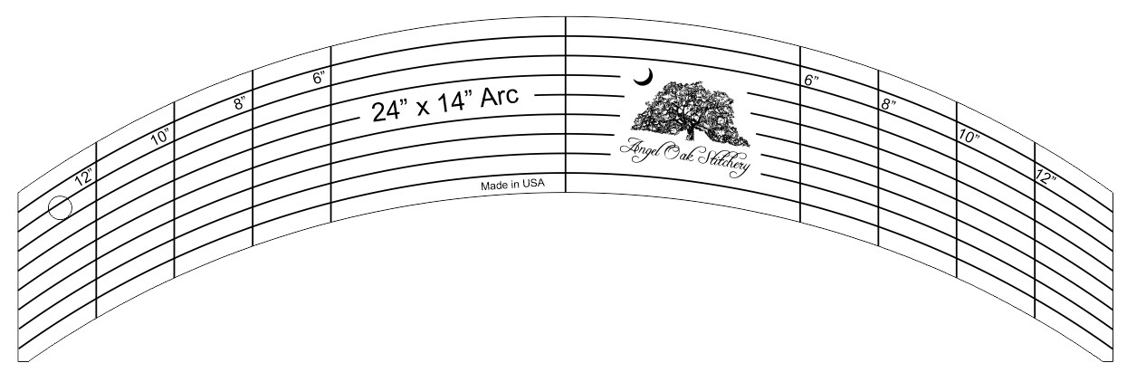 24 Inch x14 inch Arc Rulerwork Quilting Template