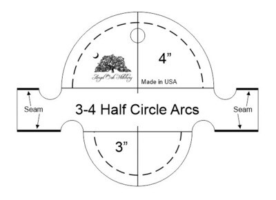 3 and 4 inch Half Circle Arc Rulerwork Quilting Template