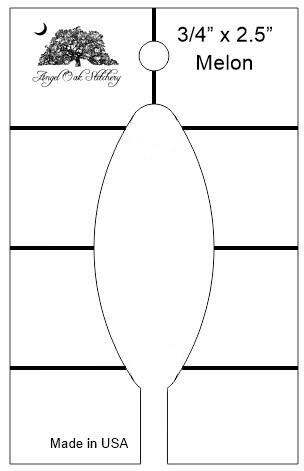 3/4 inch x 2.5 inch Melon Rulerwork Quilting Template
