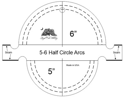 5 and 6 inch Half Circle Arc Rulerwork Quilting Template