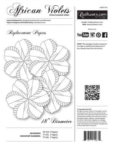 Quiltworx African Violets Petals Replacement Papers JNQ 215 R3