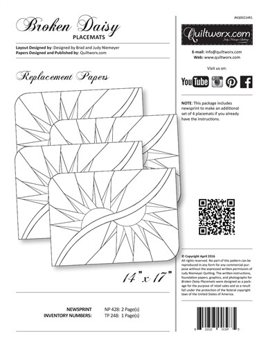 Quiltworx Broken Daisy Placemats Replacement Papers JNQ214R-1