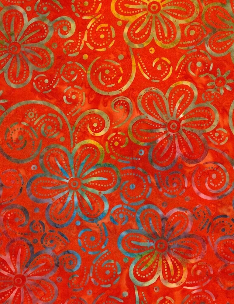 Timeless Treasures Tonga B6387 Poppy Hawaii Batik