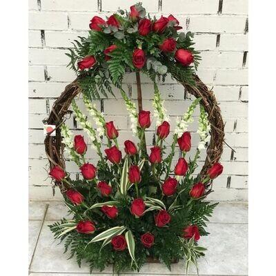 Corona grande de bejuco de 36 rosas