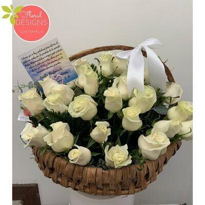 Mega cesta de rosas blancas