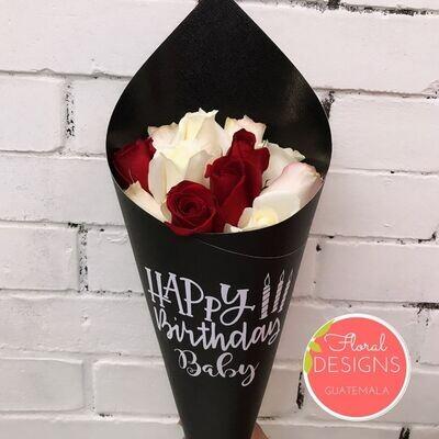 Bouquet de 24 rosas personalizado