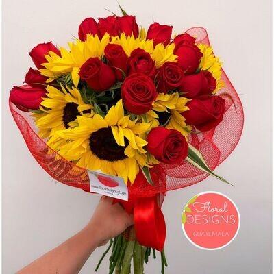 Bouquet de girasoles y rosas