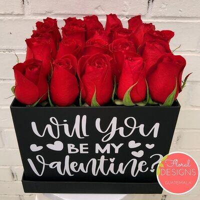 Caja de 25 rosas personalizadas